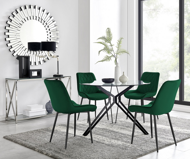 Cascina Dining Table and 4 Pesaro Black Leg Chairs