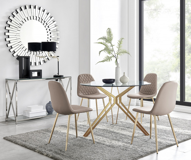 Empoli Dining Table and 4 Corona Gold Leg Chairs
