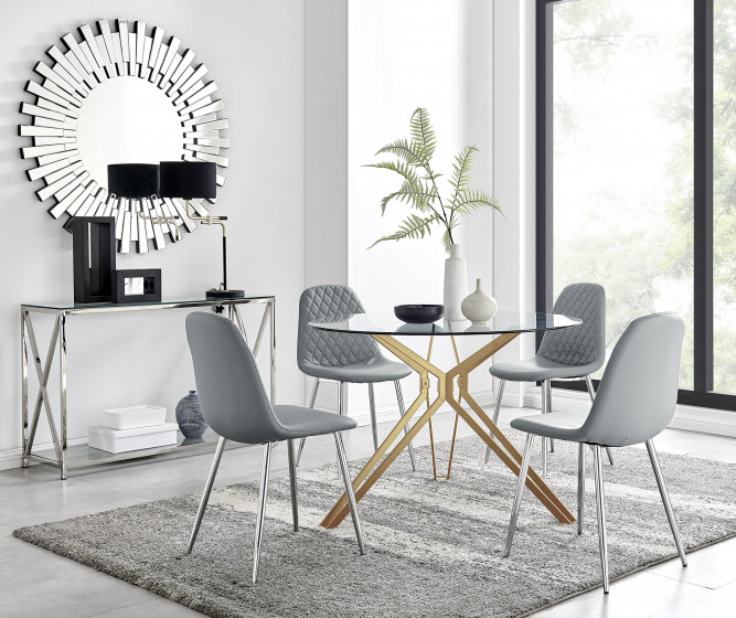 Empoli Dining Table and 4 Corona Silver Leg Chairs