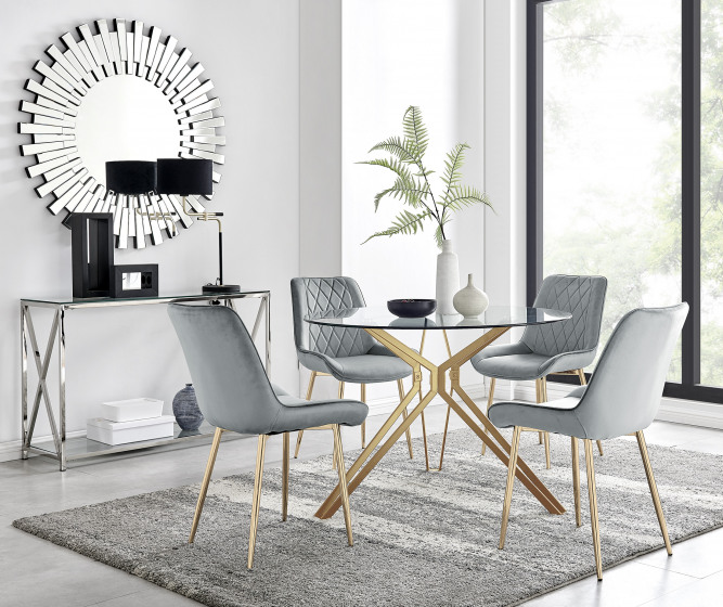 Empoli Dining Table and 4 Pesaro Gold Leg Chairs