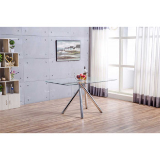 Alexa Glass And Chrome Metal Modern Dining Table