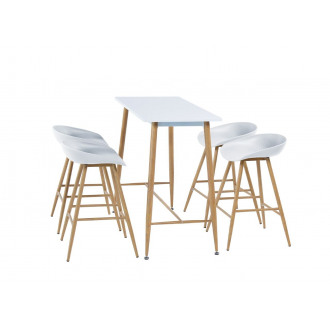 Anton Wooden Modern Rectangular Bar Table And 4 Stylish White Sven Chairs Set