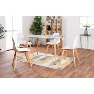 Anton Wood Rectangle Dining Table And 4 White Stockholm Dining Chairs