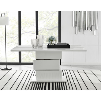 Apollo Rectangle Chrome High Gloss White 6 Seater Dining Table