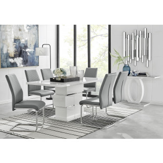 Apollo Rectangle Chrome High Gloss White Dining Table And 6 Lorenzo Chairs Set