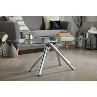 Arizona Chrome Metal And Clear Glass Coffee Table