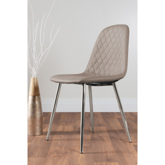 2x Corona Silver Leg Cappuccino Beige Faux Leather Dining Chair