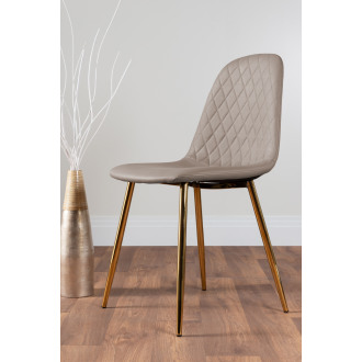 2x Corona Gold Leg Cappuccino Beige Faux Leather Dining Chair