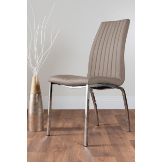 2x Isco Faux Leather Upholstered Cappuccino Beige Chrome Dining Chairs