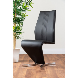 2x Willow Black Faux Leather Chrome 'Z' Dining Chairs