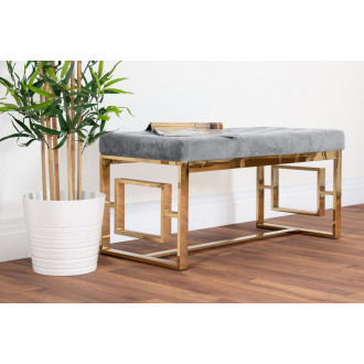 Cambridge Modern Gold Metal & Grey Velvet Upholstered Luxury Bench