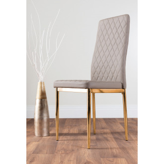 6x Milan Cappuccino Grey Gold Hatched Faux Leather Dining Chairs