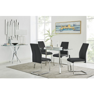 Cosmo Chrome Metal And Glass Dining Table And 4 Lorenzo Dining Chairs