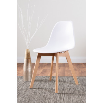 Set of 2 Stockholm White Wooden Plastic Dining Chairs