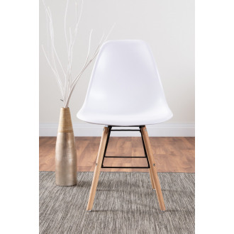Set of 2 Sven Wooden Plastic Dining Chairs White