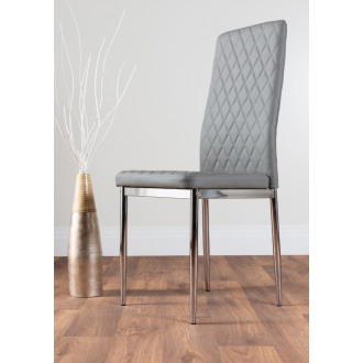 6x Milan Grey Chrome Hatched Faux Leather Dining Chairs