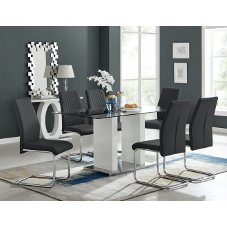 Florence White High Gloss And Glass Dining Table With 6 Lorenzo Chairs Set