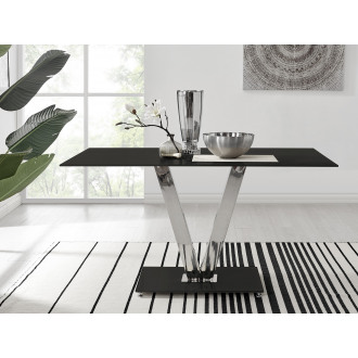 Florini Black Glass And Metal V Dining Table