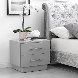 Fossano Grey High Gloss Bedside Table