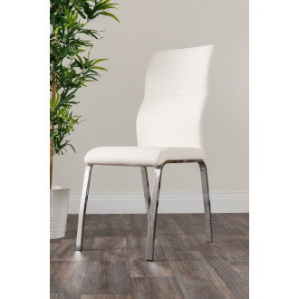 2x Andora Modern White Chrome Stylish Dining Chairs