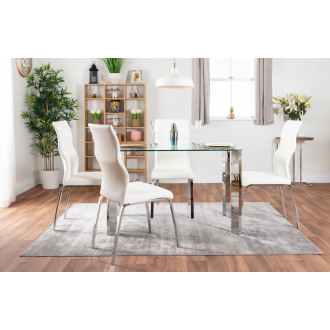 Lucia 4 Glass Chrome Table And 4 Luxury Andora Chairs Set