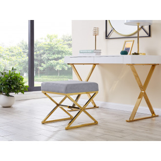 Oxford Modern Grey Velvet And Gold Chrome Stool