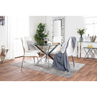 Venice Round Glass Chrome Table And 4 Luxury Andora Chairs Set