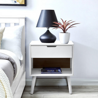 Alma White Modern Bedside Table
