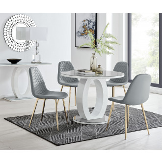 Giovani Grey White High Gloss And Glass 100cm Round Dining Table And 4 Corona Gold Chairs Set