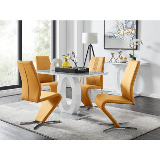 Giovani Grey White Modern High Gloss And Glass Dining Table And 4 Willow Chairs Set