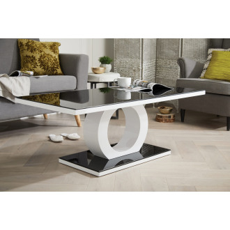 Giovani Modern Halo Black/White High Gloss And Glass Coffee Table