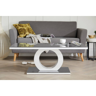 Giovani Modern Halo Grey White High Gloss And Glass Coffee Table