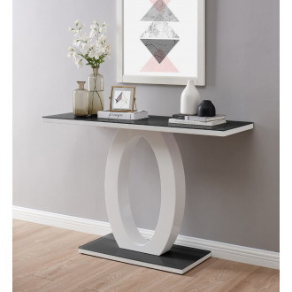 Giovani Modern Black White Halo High Gloss Glass Console Table