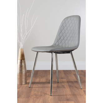 2x Corona Silver Leg Elephant Grey Faux Leather Dining Chair