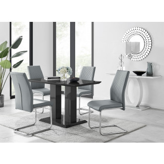 Imperia 4 Modern Black High Gloss Dining Table And 4 Lorenzo Chrome Dining Chairs Set