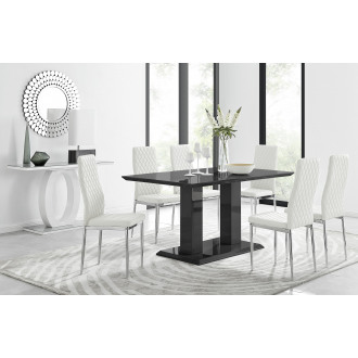 Imperia Black High Gloss Dining Table And 6 Milan Dining Chairs Set