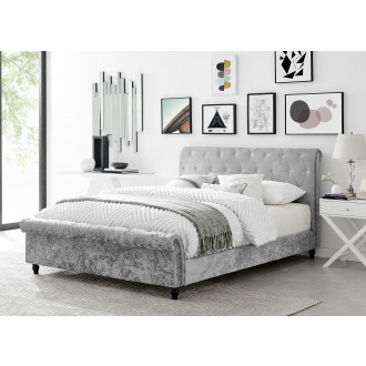 Kingston Grey Crushed Velvet Roll Top Bed Frame