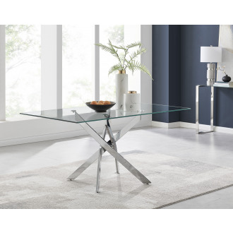 Leonardo Glass And Chrome Metal Modern Dining Table