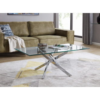 Leonardo Glass And Chrome Metal Coffee Table