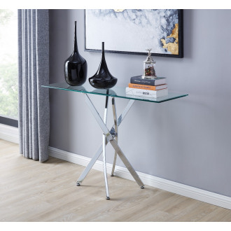 Leonardo Glass And Chrome Metal Console Table