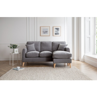 Hilda Right Hand Chaise Lounge Sofa in Charcoal Grey