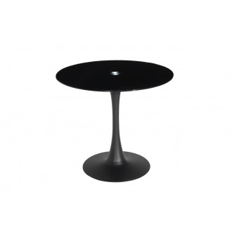 Manhattan Modern Black Glass Space Saving Round 80cm Dining Bar Table