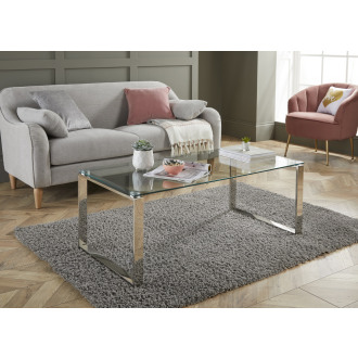 Miami Modern Clear Glass And Chrome Metal Coffee Table