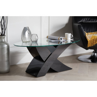 "Milano Modern Black Oval ""X"" High Gloss Coffee Table"