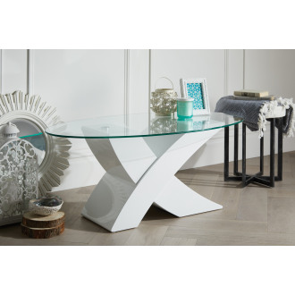 "Milano Modern White Oval ""X"" High Gloss Coffee Table"