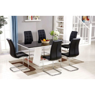 Murano Large High Gloss Black White Dining Table And 6 Black Murano Chairs Set
