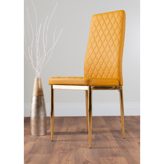 4x Milan Mustard Yellow Gold Hatched Faux Leather Dining Chairs
