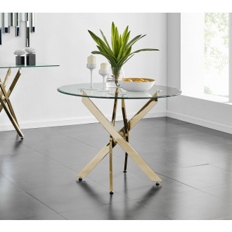 Novara Gold Metal 100cm Round Glass Dining Table