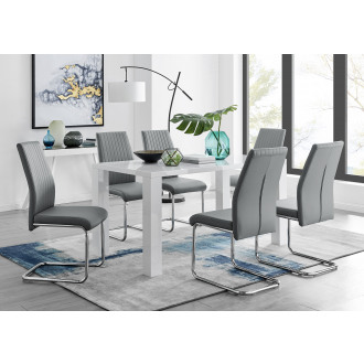Pivero White High Gloss Dining Table and 6 Lorenzo Dining Chairs