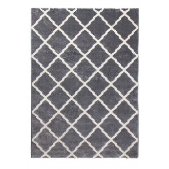 Toscana Moroccan Lattice Two-Tone Rug in Grey and Cream - 120x170cm